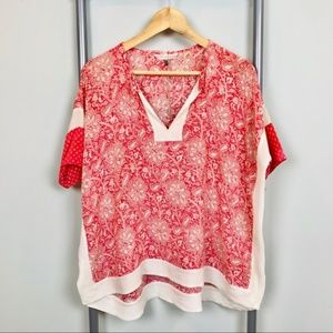 Rebecca Taylor red paisley silk tunic top XS